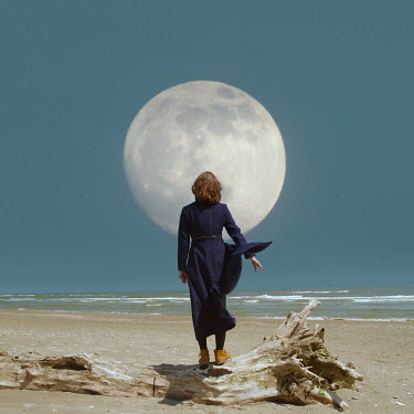 Felicia Simion BRUNETTE WOMAN ON BEACH BELOW FULL MOON Women