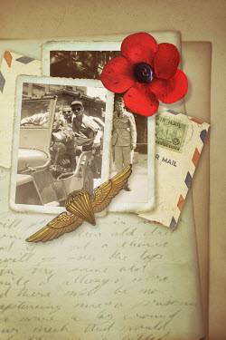 Sandra Cunningham vintage photos of WW2 soldiers, poppy and medal Miscellaneous Objects