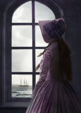 Sandra Cunningham historical woman by window with sea view Women