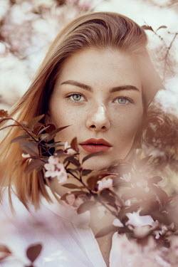 Nina Masic YOUNG BLONDE WOMAN AMONG FLOWERS Women