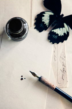 Isabelle Lafrance FOUNTAIN PEN, INK POT AND BUTTERFLY Miscellaneous Objects