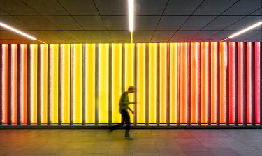 Adrian Leslie Campfield BOY WALKING IN NEON SUBWAY Children
