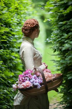 Lee Avison VICTORIAN WOMAN WITH FLOWERS IN GARDEN Women