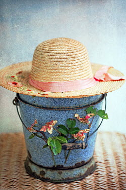 Alison Archinuk STRAW HAT AND FLOWERS BESIDE BLUE BUCKET Miscellaneous Objects