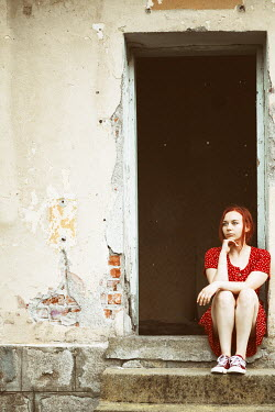 Svetoslava Madarova YOUNG WOMAN WITH RED HAIR SITTING ON STEP Women