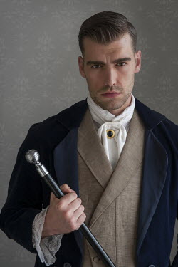 Lee Avison smouldering victorian man with silver topped cane Men