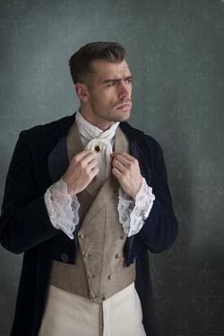 Lee Avison handsome victorian man adjusting his jabot Men
