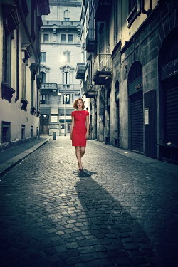 Evelina Kremsdorf WOMAN IN RED WALKING IN CITY Women