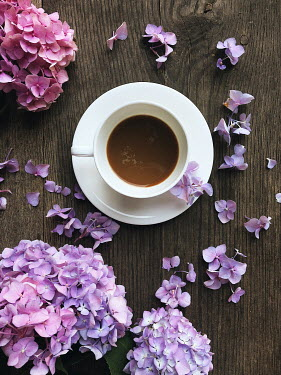 Marta Syrko CUP OF COFFEE AND PINK FLOWERS Miscellaneous Objects