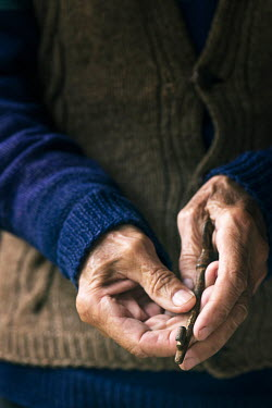 Galya Ivanova OLD MANS HANDS HOLDING RUSTY KEY Body Detail