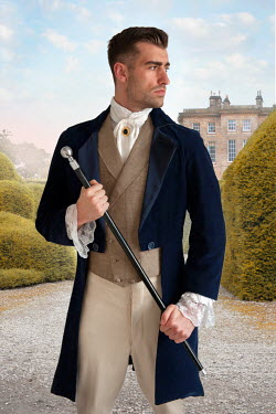 Lee Avison handsome victorian man in country estate gardens Men