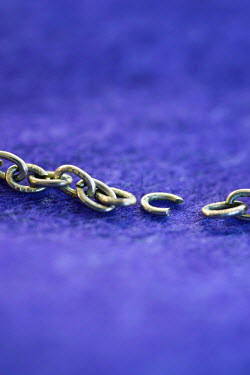 Jill Ferry BROKEN LINK OF CHAIN ON PURPLE FABRIC Miscellaneous Objects