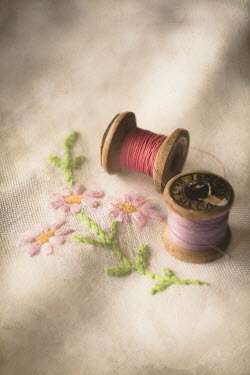 Jan Bickerton COTTON REELS AND EMBROIDERED FLOWERS Miscellaneous Objects