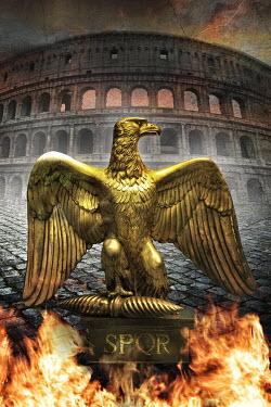 Nik Keevil ANCIENT EAGLE STATUE IN ROMAN COLOSSEUM Statuary/Gravestones