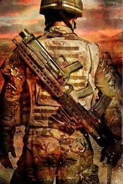 Nik Keevil MODERN SOLDIER WITH GUN IN WAR ZONE Men