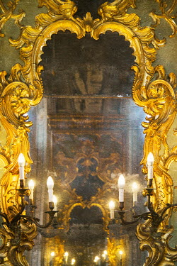 Irene Suchocki CANDLES REFLECTED IN ORNATE PALACE MIRROR Interiors/Rooms