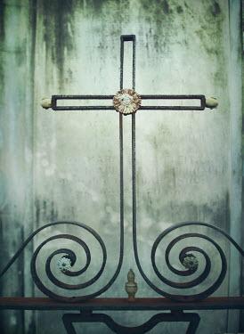 Mark Owen WROUGHT IRON CROSS IN NEW ORLEANS CEMETERY Statuary/Gravestones