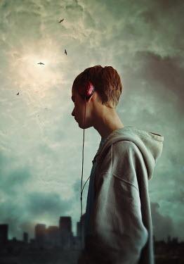 Lyn Randle BOY WITH EARPHONES IN CITY Children