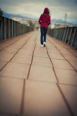 Svetlana Bekyarova GIRL WALKING ON URBAN BRIDGE Children