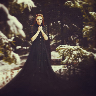 Natalia Ciobanu YOUNG FANTASY WOMAN IN SNOWY FOREST Women