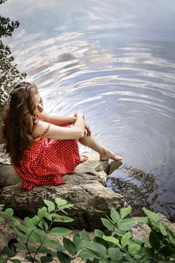 Stephen Carroll YOUNG BRUNETTE WOMAN DIPPING TOE IN LAKE Women
