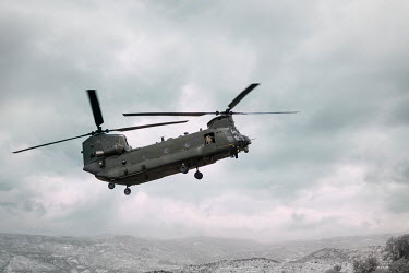 Stephen Mulcahey chinook helicopter flying over mountain range Miscellaneous Transport