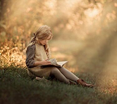 Lilia Alvarado VINTAGE SCHOOL GIRL READING IN COUNTRYSIDE Children