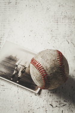 Amy Weiss VINTAGE PHOTO OF SPORTS MAN AND BASEBALL Miscellaneous Objects
