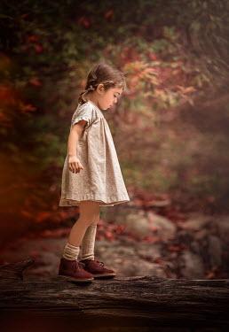 Lilia Alvarado LITTLE BRUNETTE GIRL IN AUTUMN WOODS Children