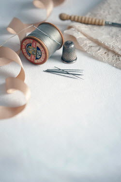 Lee Avison COTTON REELS, RIBBON AND THIMBLE Miscellaneous Objects