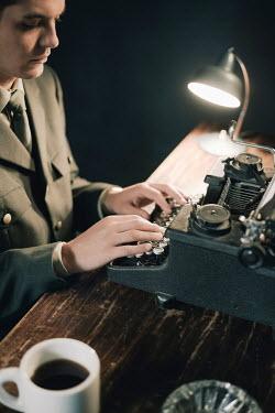 Ysbrand Cosijn 1940'S MAN IN UNIFORM TYPING Men