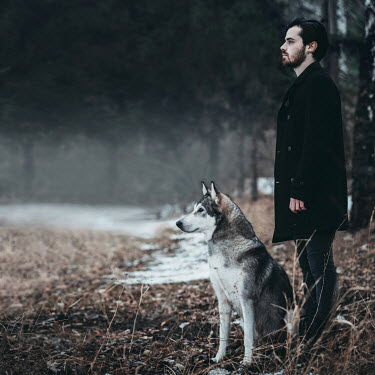 Hellen MAN WITH DOG IN WINTRY COUNTRYSIDE Men