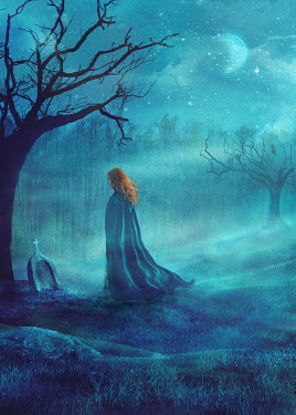 Drunaa Red haired woman in graveyard at night Women