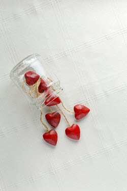 Paolo Martinez RED HEART ORNAMENTS IN KNOCKED OVER JAR Miscellaneous Objects