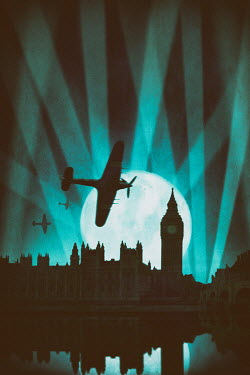 Lee Avison silhouette of planes flying over london in world war two Miscellaneous Transport