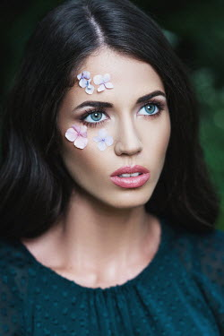 Tijana Moraca BRUNETTE WOMAN WITH FLOWERS ON FACE Women