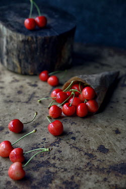 Galya Ivanova RED CHERRIES ON WOODEN SURFACE Miscellaneous Objects