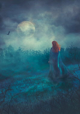 Drunaa red haired Woman in moonlit forest Women