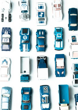 Jean Ladzinski ROWS OF BLUE TOY CARS Miscellaneous Objects