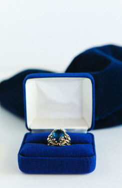 Isabelle Lafrance SAPPHIRE RING IN BLUE VELVET BOX Miscellaneous Objects