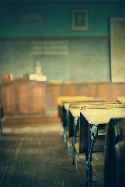 ILINA SIMEONOVA WOODEN DESKS IN VINTAGE SCHOOL ROOM Interiors/Rooms