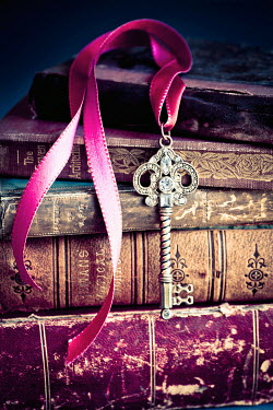 Jan Bickerton KEY AND RIBBON ON OLD BOOKS Miscellaneous Objects