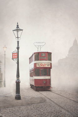 Lee Avison 1940s red tram on a smoggy cobbled street Miscellaneous Transport