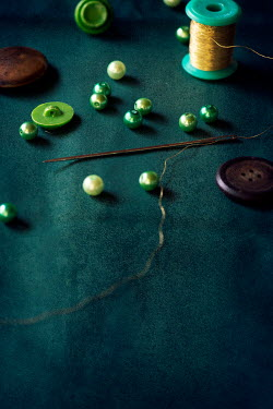 Galya Ivanova NEEDLE AND THREAD WITH BEADS AND BUTTONS Miscellaneous Objects