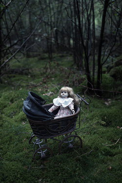 Ysbrand Cosijn CHINA DOLL AND VICTORIAN PRAM IN WOODS Miscellaneous Objects