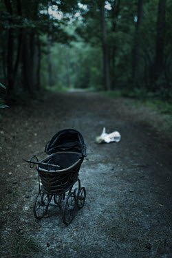 Ysbrand Cosijn VICTORIAN PRAM LEFT ON COUNTRY ROAD Miscellaneous Objects