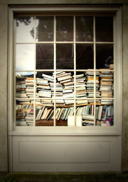 Debra Lill PILES OF BOOKS IN SHOP WINDOW Building Detail