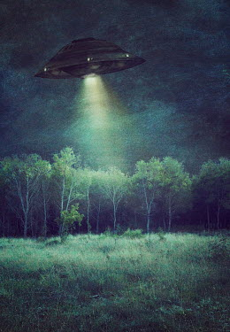 Drunaa UFO spaceship flying over woods at night Trees/Forest