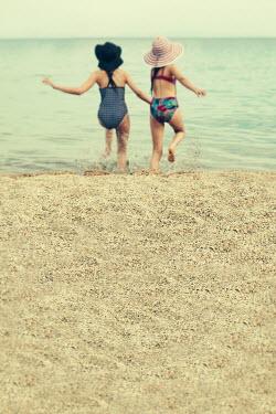 Svetlana Bekyarova TWO YOUNG GIRLS RUNNING INTO SEA Children