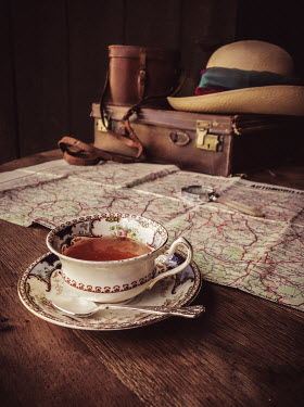 Jane Morley VINTAGE TEA CUP, MAP, AND LUGGAGE Miscellaneous Objects